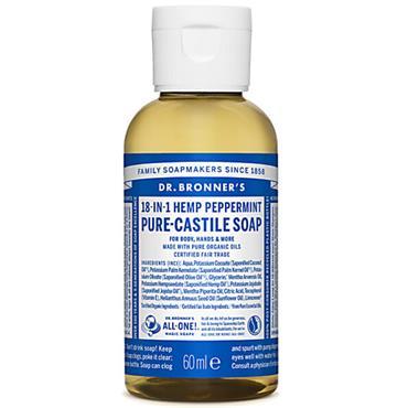 Dr Bronners Peppermint Pure Castille Liquid Soap 60ml