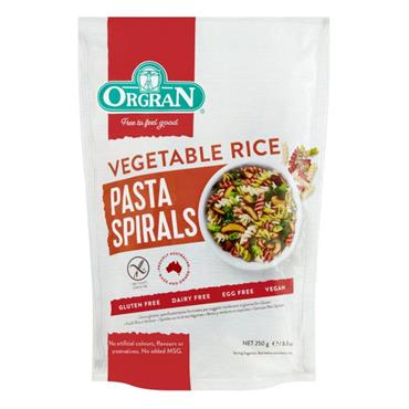 Orgran Gluten Free Vegetable & Rice Pasta Spirals 250g