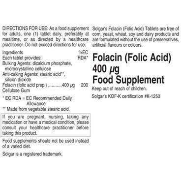 Solgar Folacin (Folic Acid) 400ug