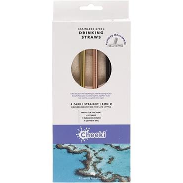 Cheeki Straws 4 Pack Stainless Straight