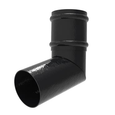 Round Aluminium Downpipe Offset Bend with Socket 100mm RAL Textured Black