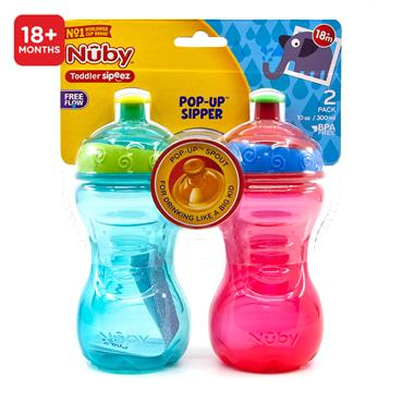 Nuby Toddler Sipeez Pop Up Sipper Bottle 300ml 18M+ 2 pk