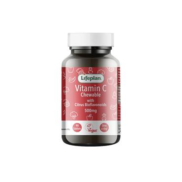 Lifeplan Vitamin C Chewable 500mg tablets with synergistic bioflavonoids 90s