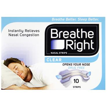 BREATHE RIGHT CLEAR NASAL STRIPS SML/MED 10s