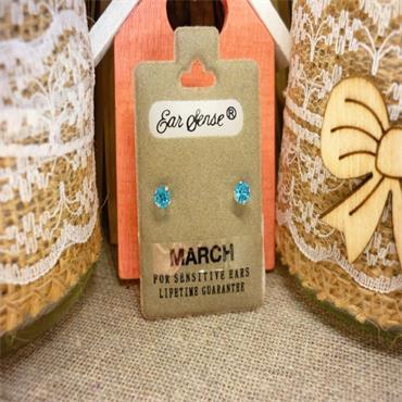 Earsense March Birthstone Stud Earrings