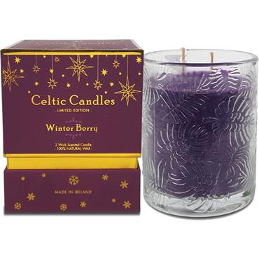 CELTIC CANDLES DOUBLE WICK WINTER BERRY PLUM BOX