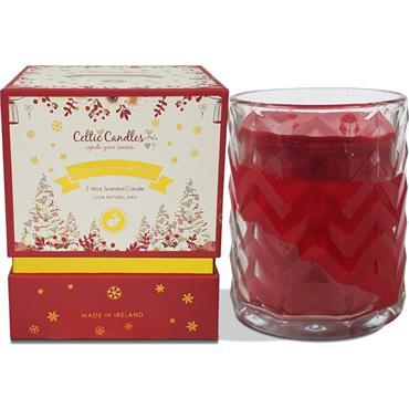 CELTIC CANDLES DOUBLE WICK CINNAMON & WINTER BERRY CREAM BOX