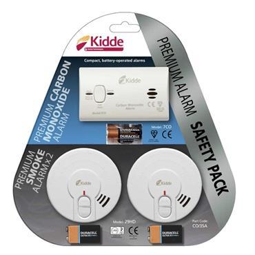 Kidde Premium Alarm Safety Pack (1 x Carbon Monoxide 2 x Smoke Alarm) | KIDCO3SA