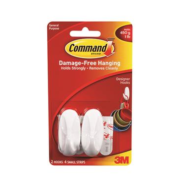 COMMAND 3M SMALL OVAL HOOKS 2 PACK   3M17082