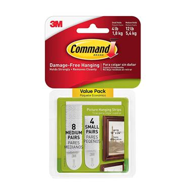 COMMAND 3M 12 PACK PICTURE HANGING STRIPS (8 MED 4 SMALL SETS)   3M17203COMBO