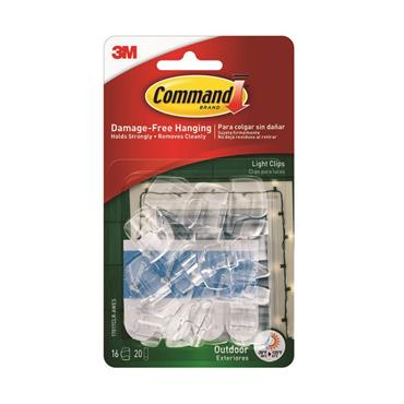 COMMAND 3M OUTDOOR LIGHT CLIP 8 PACK   3M17017CLR-AWES