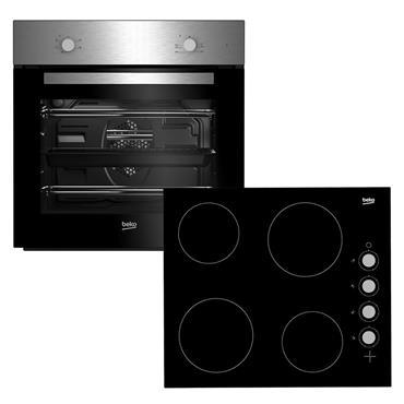 Beko Built-In Fan Oven & Ceramic Hob Package | BSF210SX