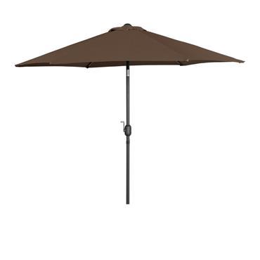 Aluminium Garden Parasol Umbrella 2.7m Crank & Tilt - Brown