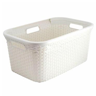 Curver Rattan Rectangular Laundry Hamper Basket - Oasis White | CUR187492