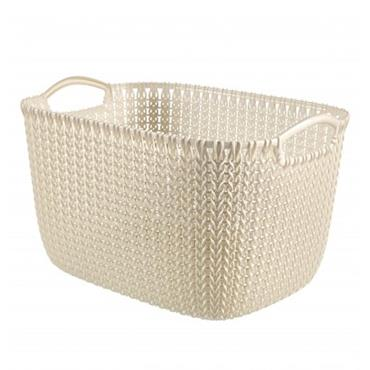 Curver Knit 19 Litre Rectangular Basket 230mm x 400mm - Oasis White | CUR229312