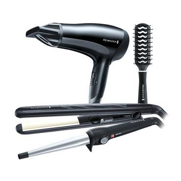 Remington Complete Hair Care Gift Pack (Hair Dryer Straighener Brush) | S3500GP