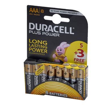 Duracell Plus Power AAA Batteries (Pack 5 + 3 Free) | XMS19BATAAA8