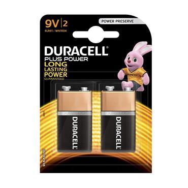 Duracell Plus Power 9V Batteries (Twin Pack) | XMS19BAT9V2