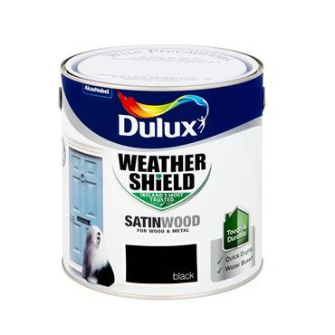 Dulux 2.5 Litre Weathershield Exterior Satinwood - Black | 5270116
