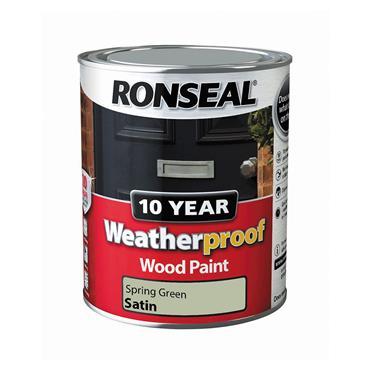 Ronseal 750ml 10 Year Weatherproof Wood Gloss Paint - Spring Green | 36789