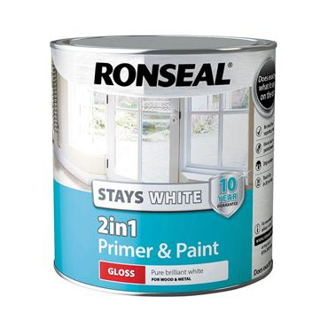 Ronseal 2.5 Litre 2 in 1 Stay White Gloss Paint & Primer - White   37511