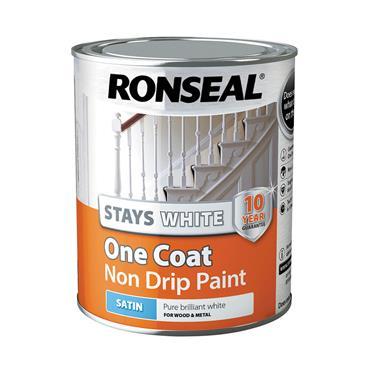 Ronseal 750ml Stays White One Coat Satin - White   37518