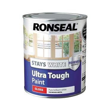 Ronseal 750ml Stays White Ultra Tough Gloss Paint - White   37522