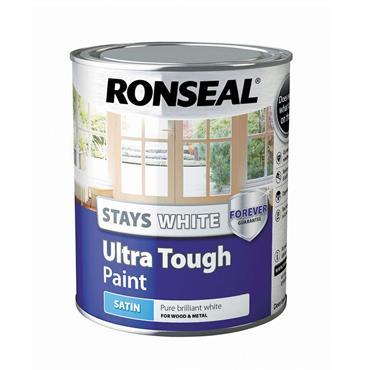 Ronseal 750ml Stays White Ultra Tough Satin Paint - White   37524