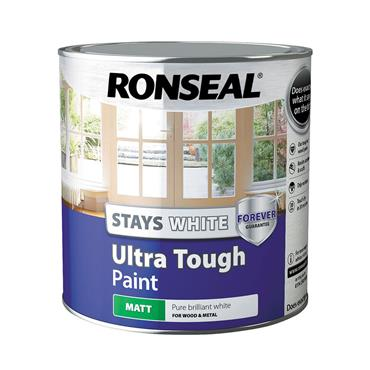 Ronseal 2.5 Litre Stays White Ultra Tough Matt Paint - White   37527