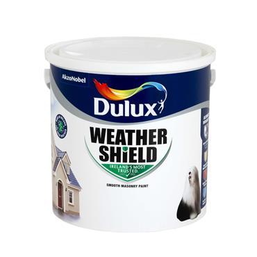 Dulux 2.5 Litre Weathershield Masonry Paint - Brillant White |  5084686