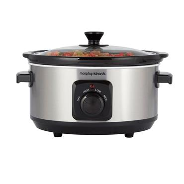 Morphy Richards 3.5 Litre Ceramic Slow Cooker - Stainless Steel   460017
