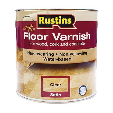 Rustins 1 Litre Quick Drying Satin Floor Varnish - Clear | R690069