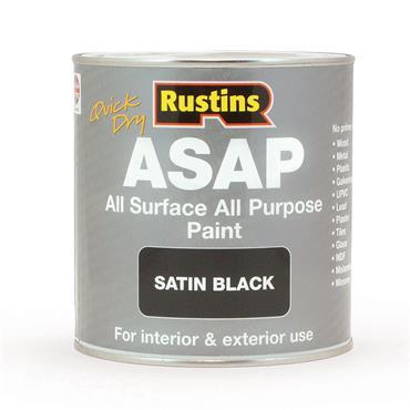 Rustins 1 Litre ASAP All Surface All Purpose Paint - Satin Black | R480113