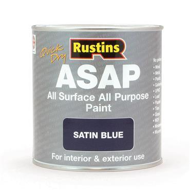 Rustins 1 Litre ASAP All Surface All Purpose Paint - Satin Blue | R480116