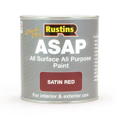 Rustins 500ml ASAP All Surface All Purpose Paint - Satin Red | R480124