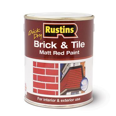 Rustins 500ml Quick Dry Brick & Tile Matt Red Paint | R110003