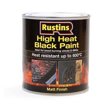 Rustins 250ml High Heat Paint for Stoves & BBQs - Matt Black | R800107