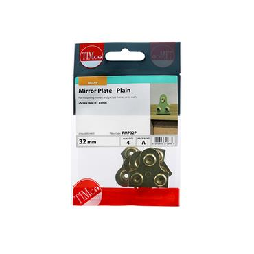 Timco Mirror Plates - Plain - Electro Brass 32mm 4 Pack | PMP32P