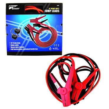 12' JUMP LEADS WITH HEAVY DUTY CLAMPS