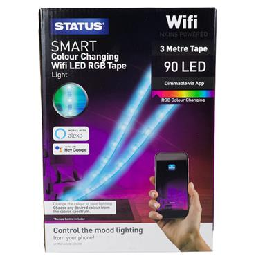 Status Smart Colour Changing Wifi LED RGB Tape Strip Light | SSTRIP3MTR