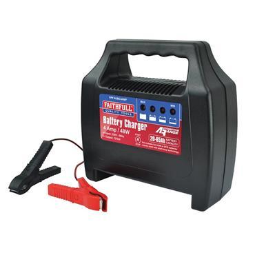 Faithfull Vehicle Car Battery Charger 20-65Ah 4amp/48W Output   FPPAUBC4AMP