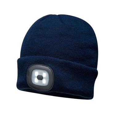 Portwest Led Rechargable Headlight Beanie Hat - Navy