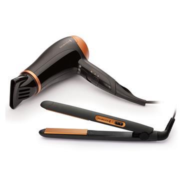 Remington Hair Care Gift Set (Hair Dryer & Straightner) - Black & Gold | D3012GP