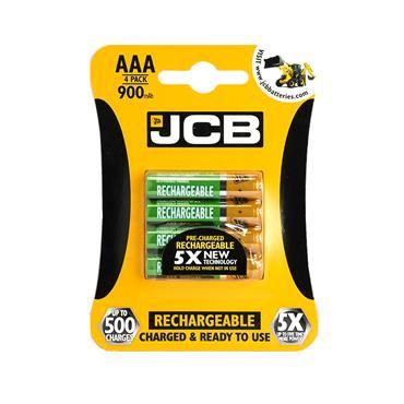 JCB AAA RECHARGABLE BATTERY 4 PACK 900MAH | 1737-14