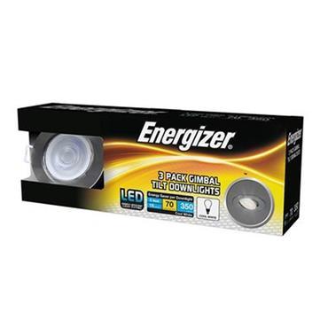Energizer 5w LED Gimbal Tilt Downlights Cool White 3 Pack - Brushed Chrome | 1832-08