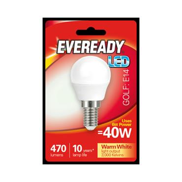 Eveready 6W (40W) E14 Golf Ball LED Bulb | 1826-14