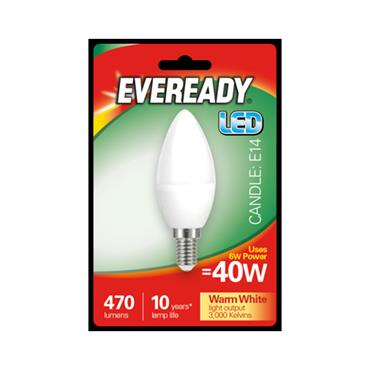 Eveready 6W (40W) E14 Candle LED Bulb | 1826-22