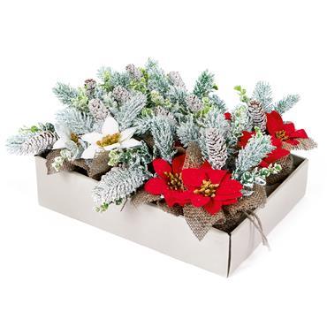 Premier 18cm Poinsettia Burlap Base Pot | DF187059