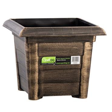 RUSTIC SQUARE PLANTER 32CM BLACK BRONZE
