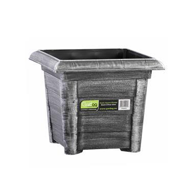 Gardag Rustic Square Planter Black & Silver 32cm | GA400939